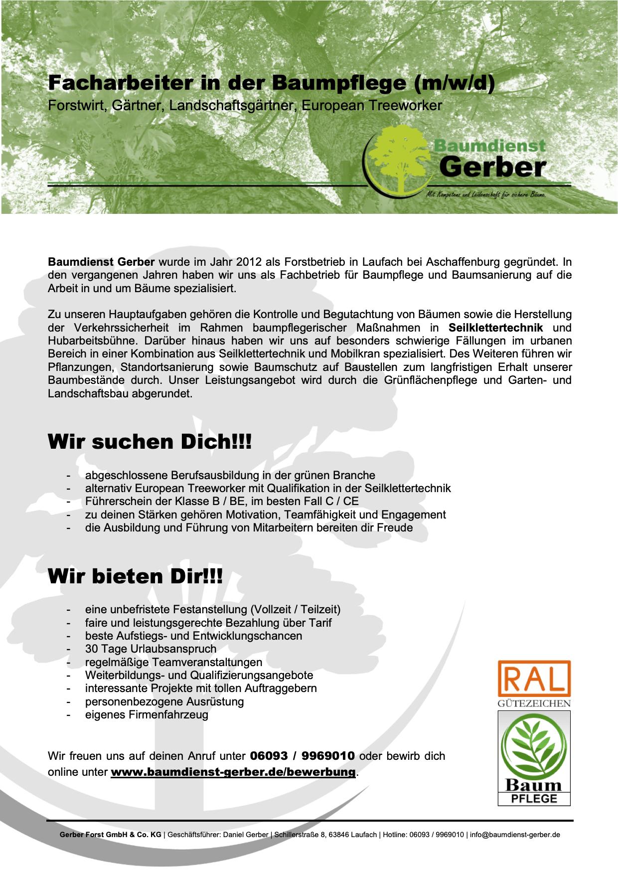 Assistent Buchhaltung Backoffice Baumpflege Forstbetrieb Aschaffenburg