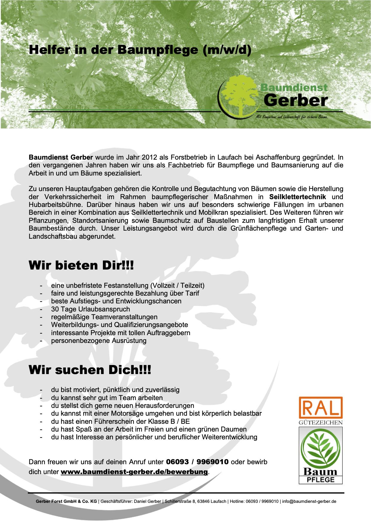 Forstwirt Gärtner Landschaftsgärtner Baumpflege Forstbetrieb Aschaffenburg